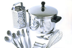 Group of stainless steel kitchen items Royalty Free Stock Photos