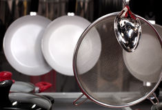Group of stainless steel kitchenware Stock Photography