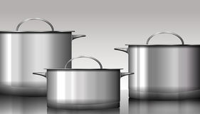 Group of stainless steel kitchenware isolated on white. Vector i Stock Photos