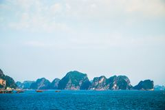 A group of standing islands in Ha Long Bay Royalty Free Stock Photography