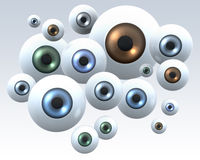 Group of staring eyes. Group of eyes staring into camera, illustration, rendering on light background Royalty Free Stock Photography
