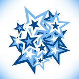 Group of stars of different sizes. Tapped at a random angle. Template for making patterns Royalty Free Stock Photography