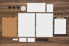 Group of stationery with shopping bag and business Stock Photos