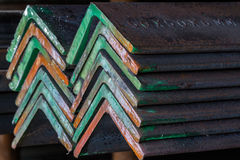Group of Steel angle. Group of Steel angle bunch on the rack in warehouse Royalty Free Stock Photos