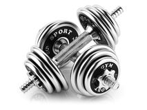 Group of steel dumbbells Stock Image