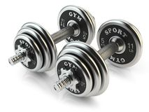 Group of steel dumbbells Royalty Free Stock Photography