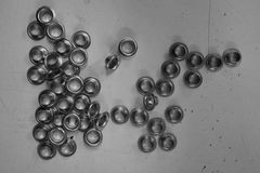 Group of steel eyelets Stock Images