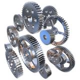 Group of steel gears Stock Photos