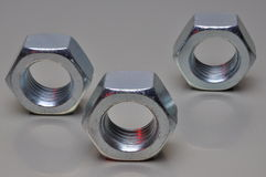 Group of steel nuts Royalty Free Stock Photography
