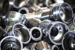 Group of steel tubes. Closeup of a group of different sizes steel or metal tube fittings stock photos