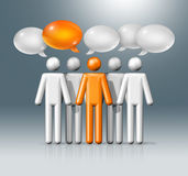 Group of stick figures people with speech bubbles. Three dimensional group of stick figures people with speech bubbles, communication symbol, white and orange Stock Photography