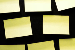 Group sticky notes. On black background without writing Royalty Free Stock Photos
