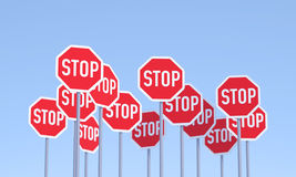 Group of Stop Signs Royalty Free Stock Image