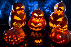 Group strange pumpkins Royalty Free Stock Photography