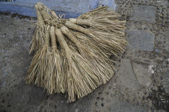 Group of straw broom Royalty Free Stock Photo
