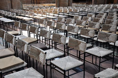 Group of straw chairs in St. Elizabeth`s Church, Marburg. Group of straw chairs made of wood in St. Elizabeth`s Church, Marburg, Germany Stock Photo