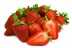 Group of strawberries. Juicy strawberries isolated on white Royalty Free Stock Image