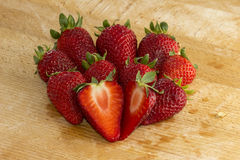 Group Strawberries wood Royalty Free Stock Images