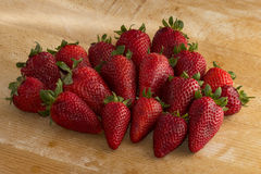 Group Strawberries wood Stock Photos