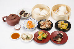 Group of stream Dim Sum chinese food and hot Tea Stock Image