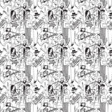 Group street musicians and birds seamless monochrome pattern Royalty Free Stock Images