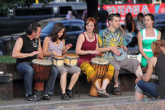 Street musicians playing the drums Stock Photo
