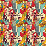 Group street musicians seamless color pattern Royalty Free Stock Photos
