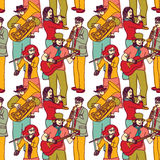 Group street musicians seamless color pattern Stock Image