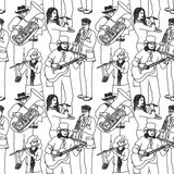 Group street musicians seamless monochrome pattern Royalty Free Stock Images