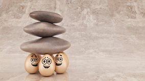 Group strength organization business concept as a rock or boulder lifted. Royalty Free Stock Images