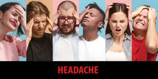 Group of stressed people having headache. Closeup sick young women and men having head pain touching her painful head on colorful background. Collage about stock image