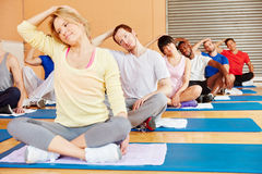 Group stretching in pilates class Royalty Free Stock Photo