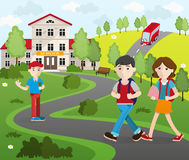 Group of Student Going to School Stock Photos