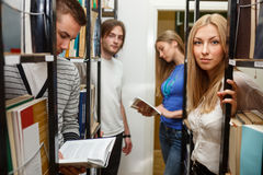 Group of student in the library Stock Photography