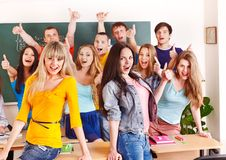 Group student near blackboard. Stock Photography