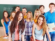 Group student near blackboard. Stock Photos