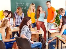 Group student near blackboard. Royalty Free Stock Image
