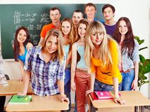 Group student near blackboard. Royalty Free Stock Photography