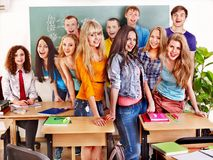 Group student near blackboard. Royalty Free Stock Photo