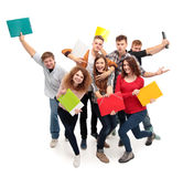 Group student with notebook. Isolated Royalty Free Stock Image