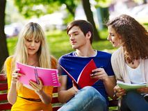 Group student with notebook on bench outdoor. Stock Photo