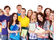 Group student with notebook isolated. Stock Photography