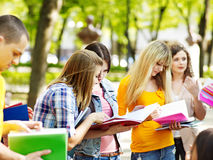 Group student with notebook outdoor. Stock Image