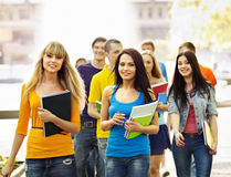 Group student with notebook outdoor. Royalty Free Stock Photos