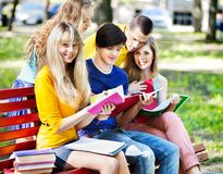 Group student with notebook outdoor. Royalty Free Stock Image