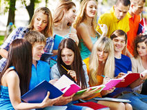 Group student with notebook outdoor. Stock Photo