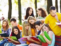 Group student with notebook outdoor. Stock Images