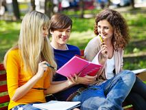 Group student with notebook outdoor. Stock Photos