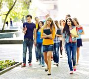 Group student  outdoor. Royalty Free Stock Photo