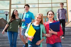 Group of student outdoor royalty free stock photos